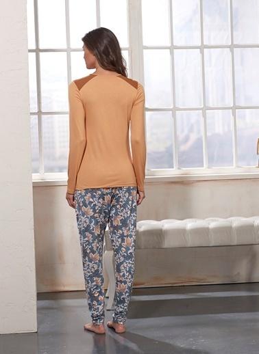 Sevim Taş Baskılı Pijama Takım Hardal